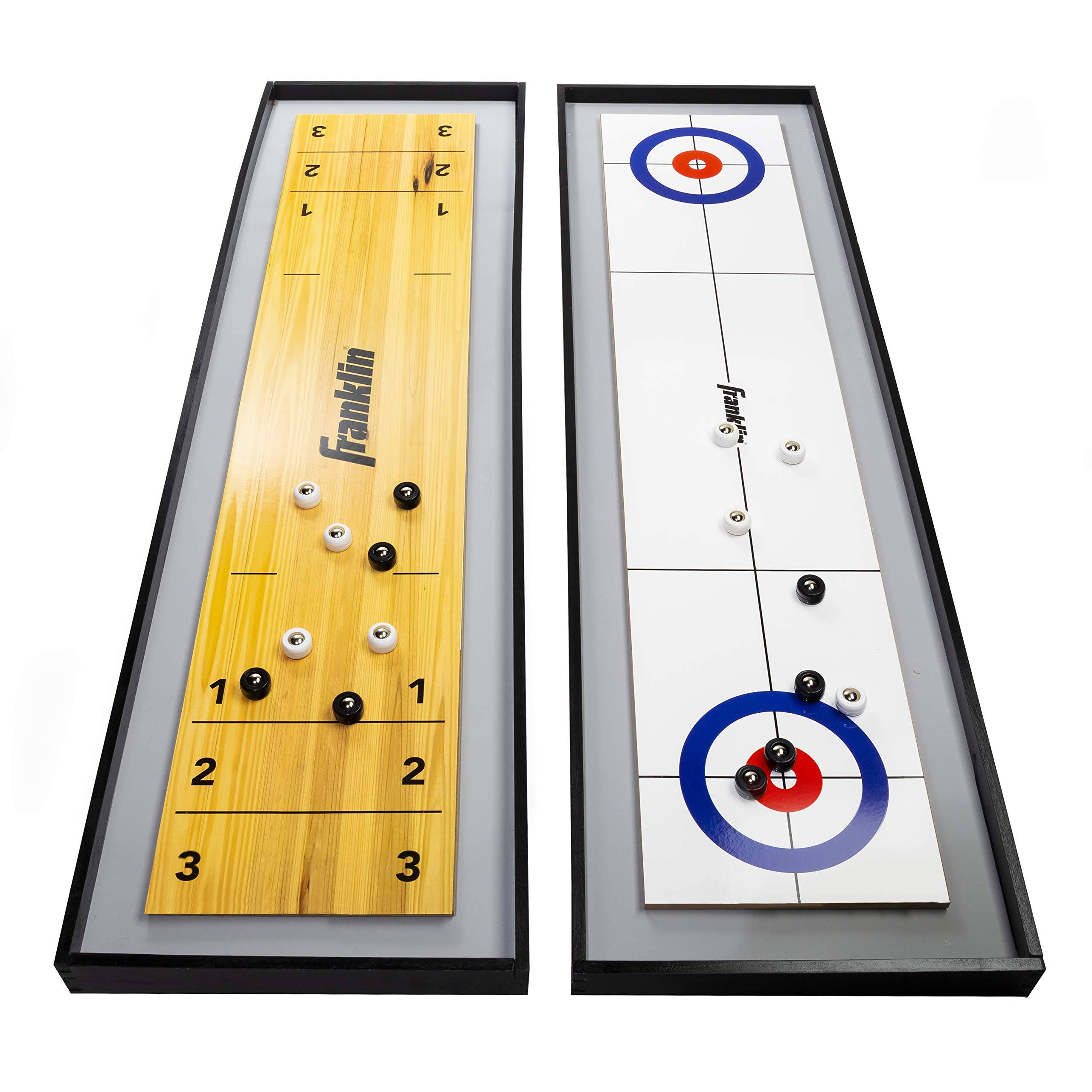 Franklin Sports 2-in-1 Shuffleboard Table and Curling Set - Portable Tabletop Set Includes 8 Rolling Mini Pucks - 45'' by Franklin Sports