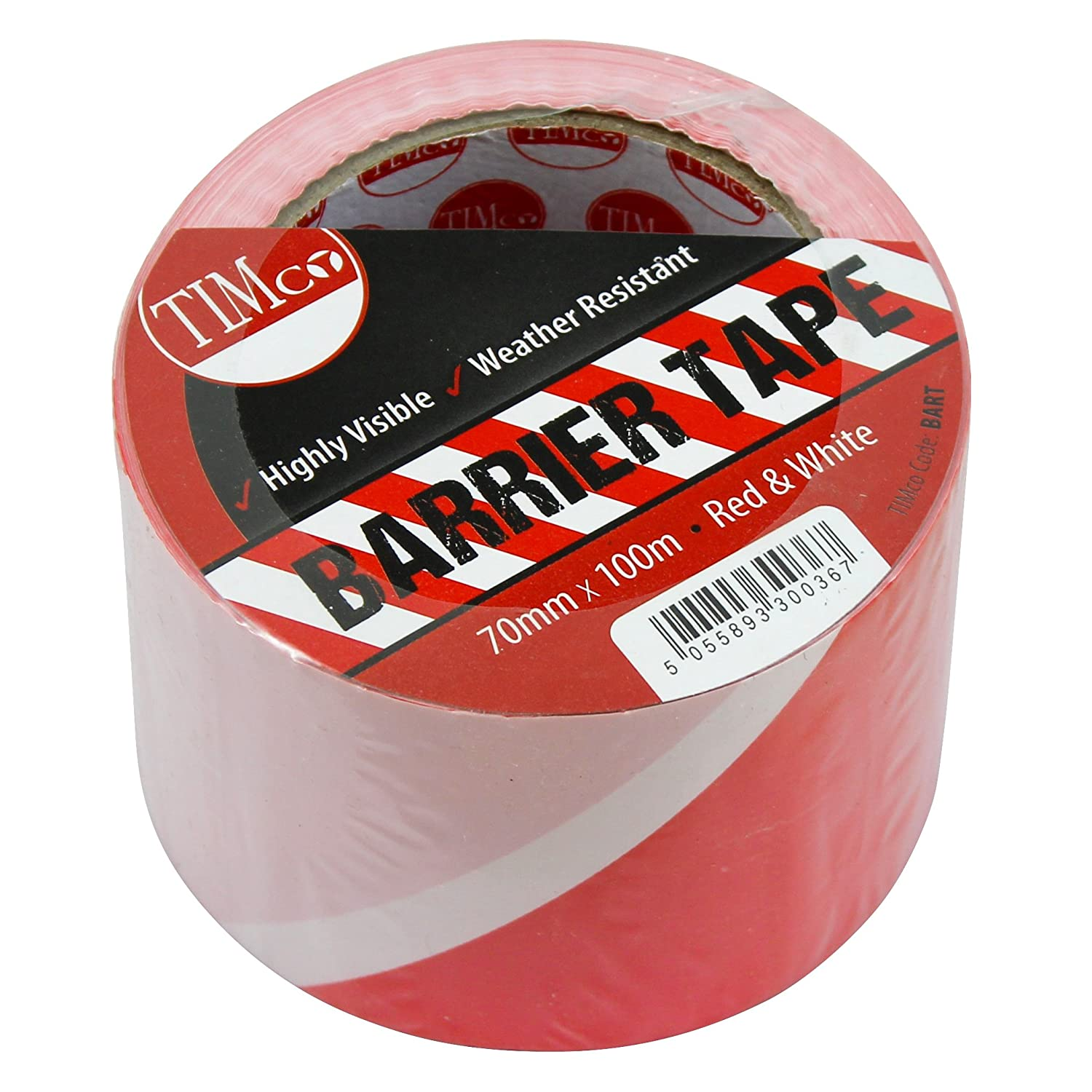 TIMco BART PVC Barrier Tape 70mm x 100m - Red/White