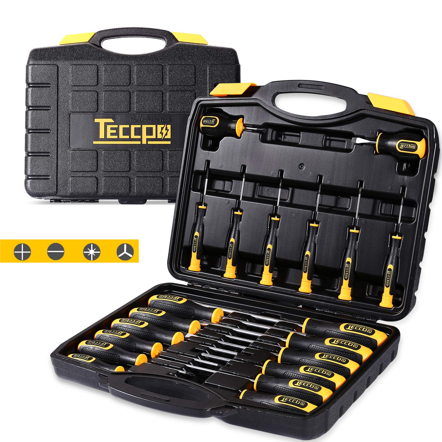 Screwdriver Set, TECCPO Magnetic 20-Piece Screwdriver Tool Set with Case, Precision Slotted/Phillips/Torx Screwdriver with Heavy Duty Magnetic Tips, Professional Craftsman Tool Kits -THTC03H