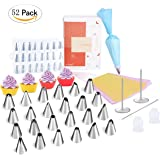 Cake Decorating Supplies Kit - IEFWELL Icing Piping Bags Tips Pastry Bags Silicone Muffin Cups, 52 Pack Baking Supplies