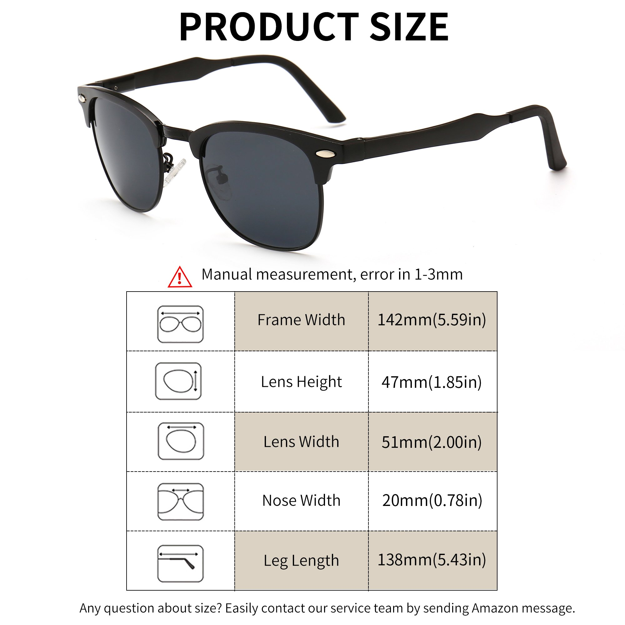 0ab4cac332f1 SUNGAIT Classic Half Frame Clubmaster Sunglasses with Polarized Lens (Black  Frame Gray Lens)