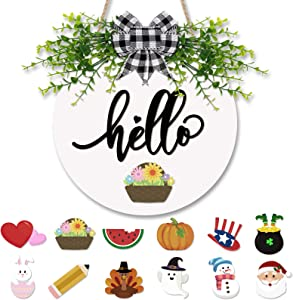 Interchangeable Hello Sign Wooden Rustic Front Door Decor with Buffalo Plaid Bow and Decorative Eucalyptus Greenery Seasonal Farmhouse Porch Home Wreath Sign 12 Inches White