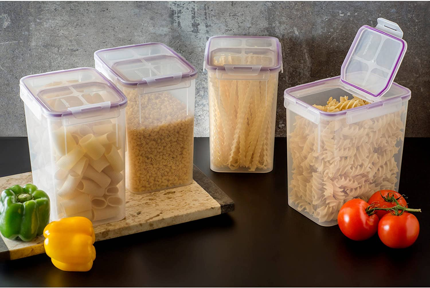 Food Storage Container Fliptop Airtight Plastic 23-Cup 4-Pack