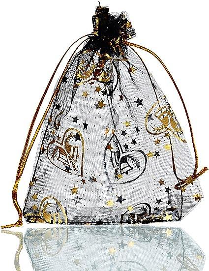 25PCs 9.5cm x11.5cm White Organza Gift Bags Wedding//Christmas Favor