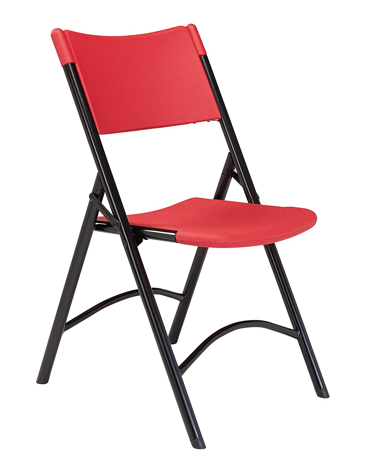 National Public Seating 600 Series Steel Frame Blow Molded Resin Plastic Seat and Back Folding Chair with Double Brace, 300 lbs Capacity, Red Black Carton of 4
