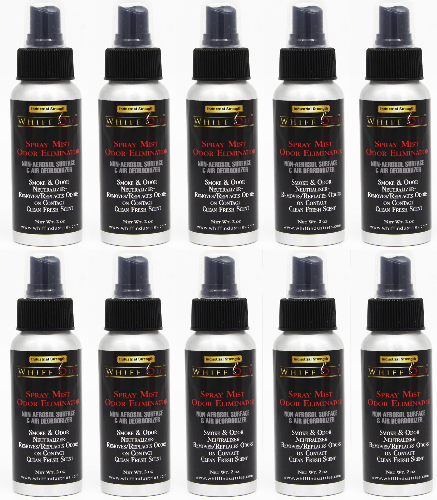 Whiff Out 2oz Spray Mist 10 Pack - Non-Aerosol Surface & Air Deodorizer & Odor Neutralizer | Removes/ Replaces Odor on Contact
