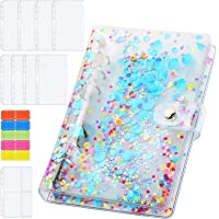 BYLaconic 12pcs A5 Binder Pockets with Notebook Cover, PVC Binder Cover with Glitter Flakes Shells and 9pcs Binder…