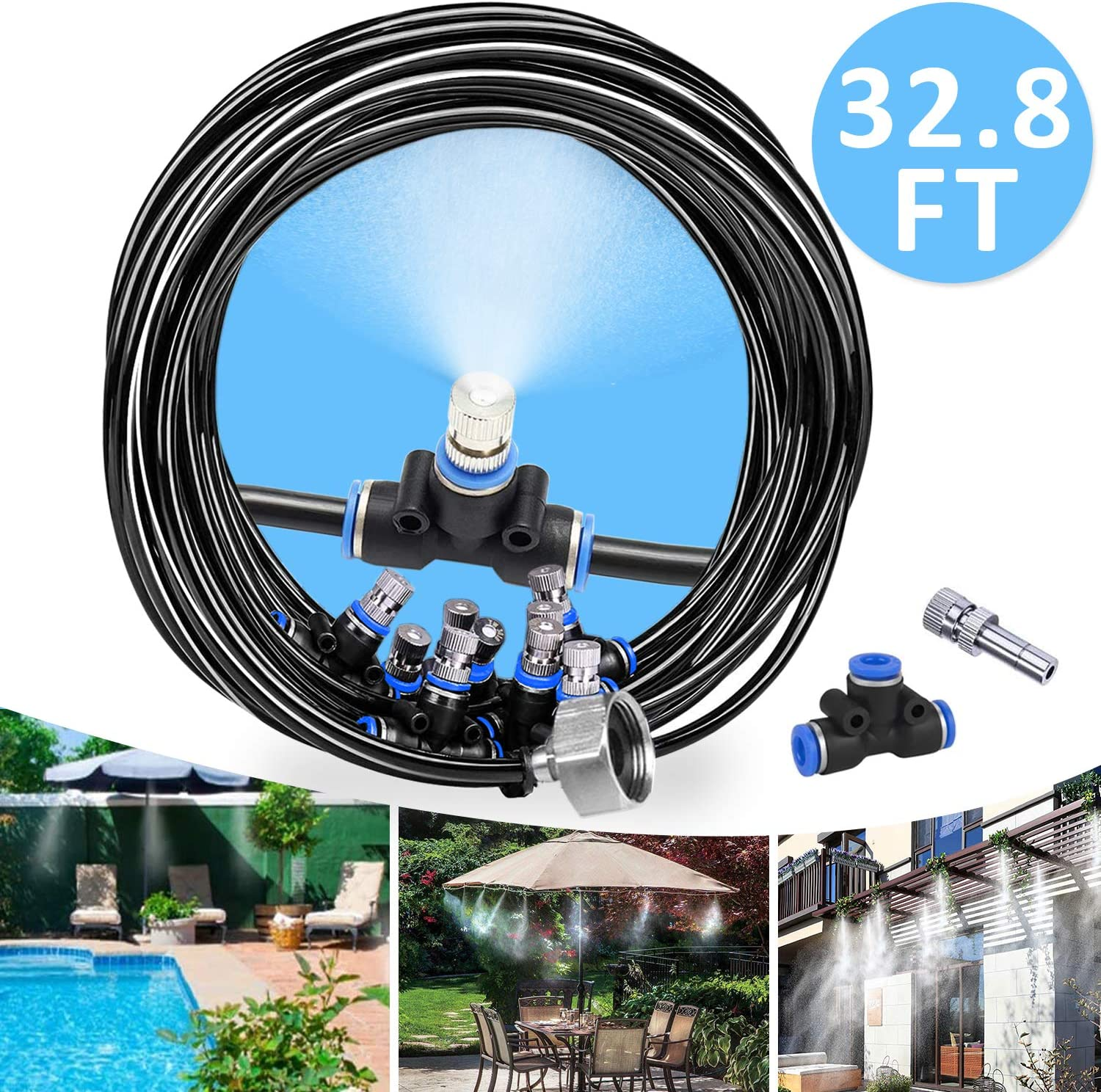 REDTRON 32.8FT Mist Cooling System, Patio Misting System with 10 Misting Nozzles, Outdoor Misting Kit for Patio Garden Greenhouse Trampoline for Waterpark