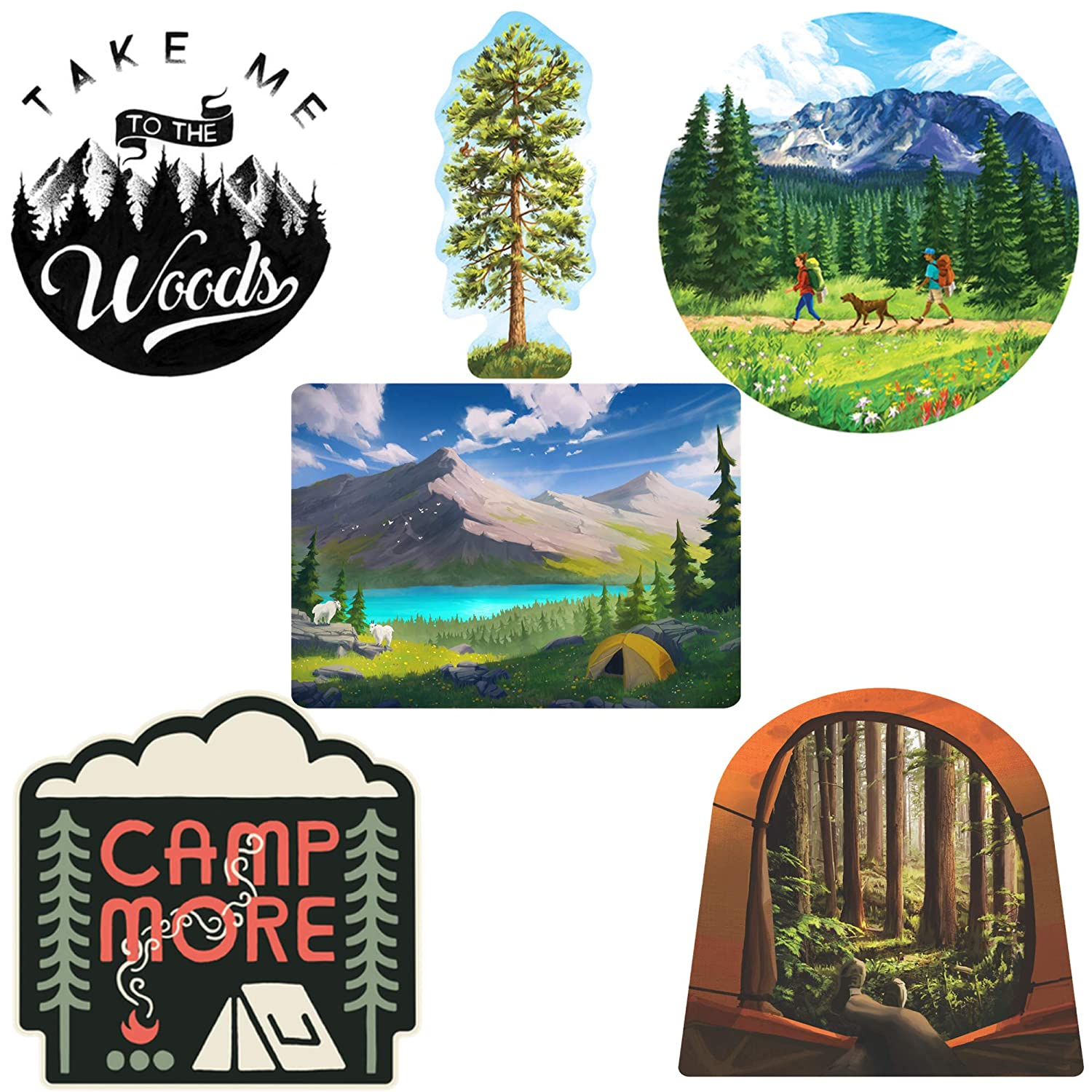 Amazon com camping sticker art pack 6 pcs waterproof stickers automotive