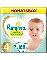 Pampers Premium Protection Windeln, Gr.4, 9-14kg, Monatsbox, 1er Pack (1 x 168 Stück)