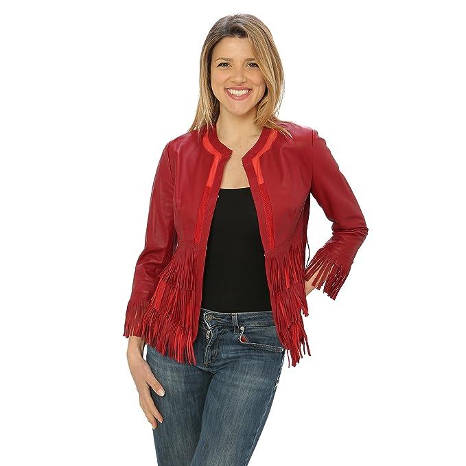 Jacket Chaqueta con Flecos para Mujer de Piel Genuina Made in Italy