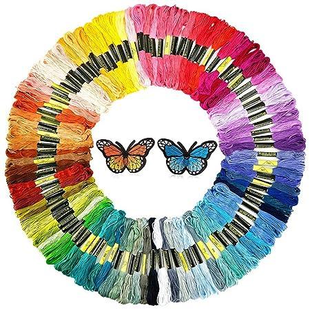 INSANY Madejas de Hilos, 50 Colores Cross Stitch Bordado Hilos Punto de Cruz Línea de Costura Coser Hilos Conjunto de Agujas Bordado de Diferentes Colores: ...