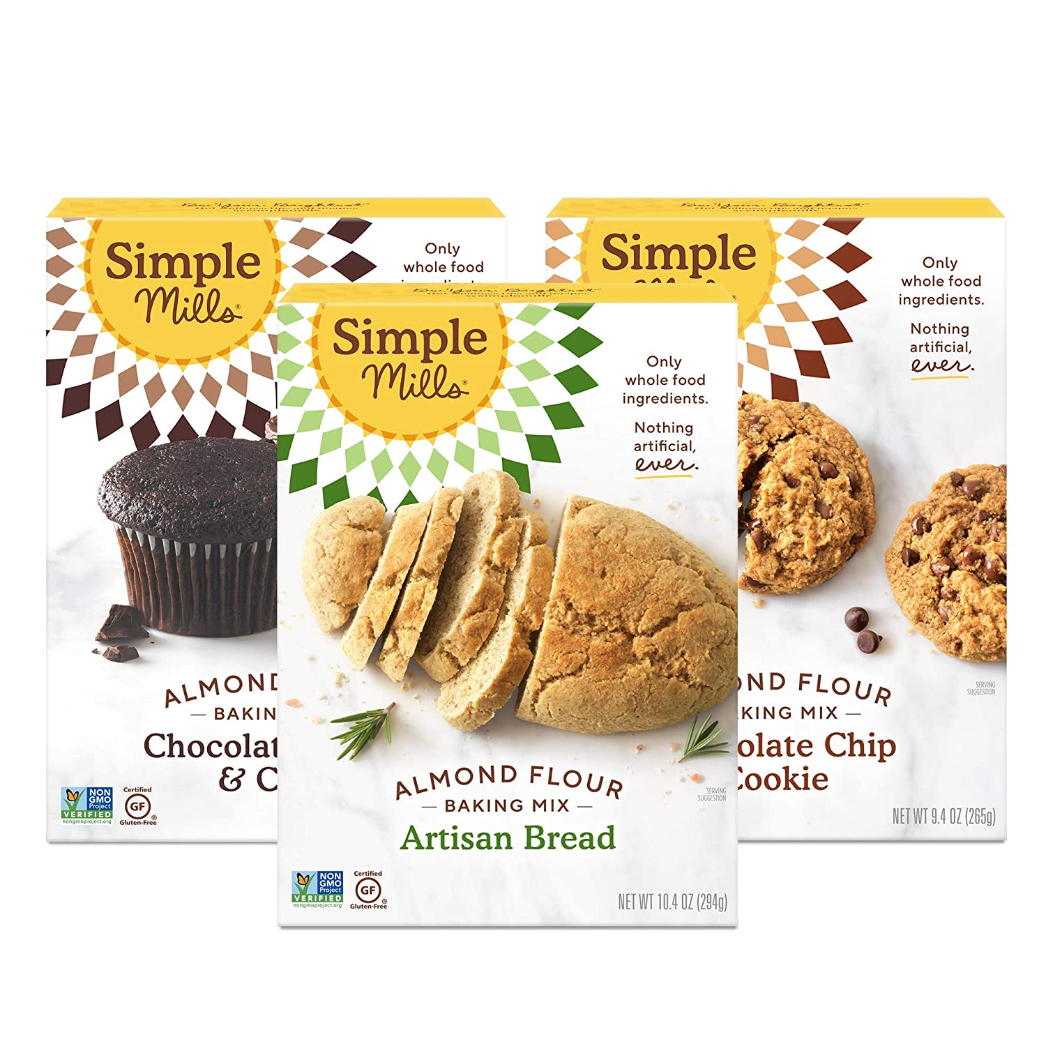Simple Mills, Baking Mix Variety Pack, Chocolate Muffin & Cake, Chocolate Chip Cookie, Artisan Bread (3), Variety Pack (Packaging May Vary)