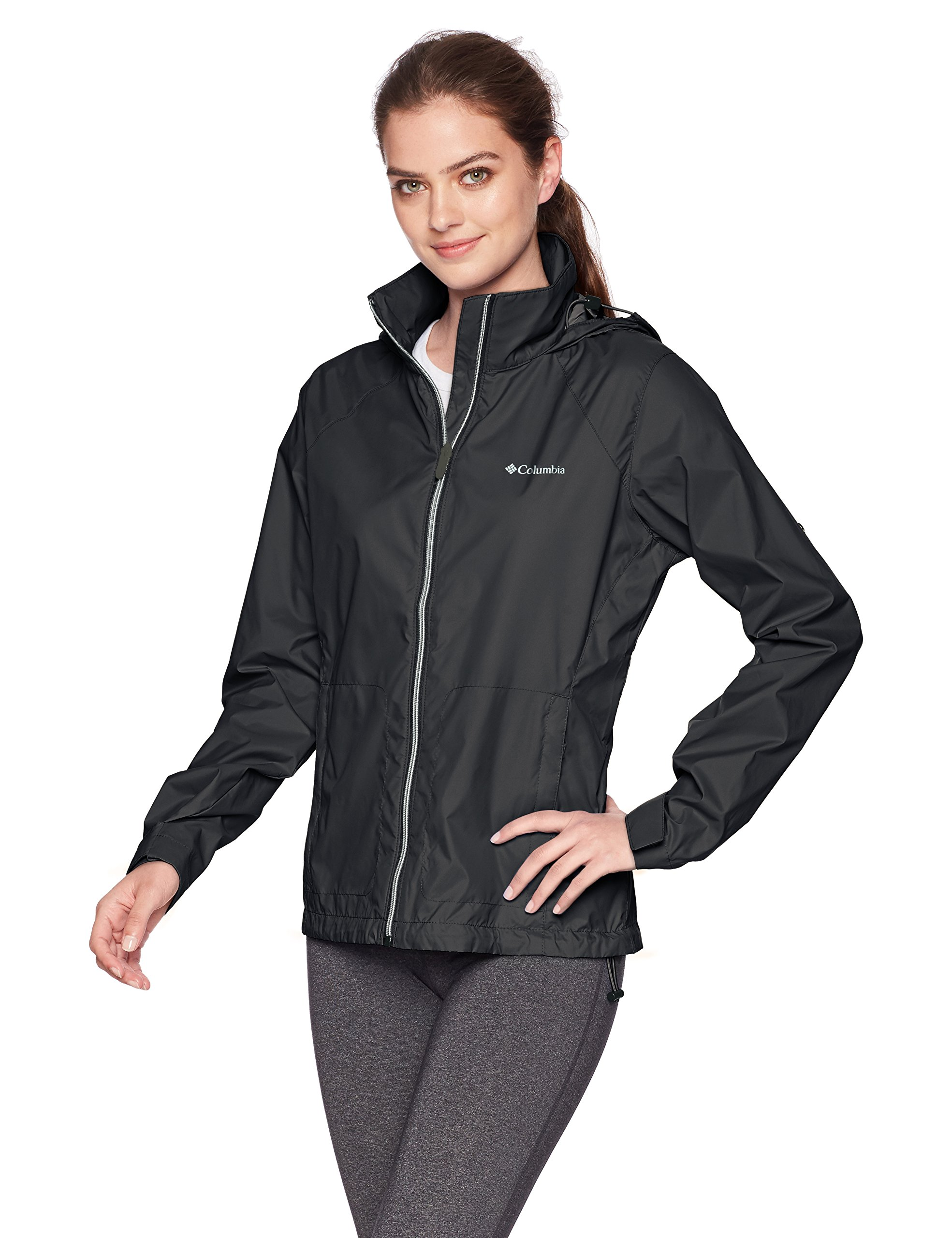 Columbia Women's Switchback III Adjustable Waterproof Rain Jacket, Black, Medium