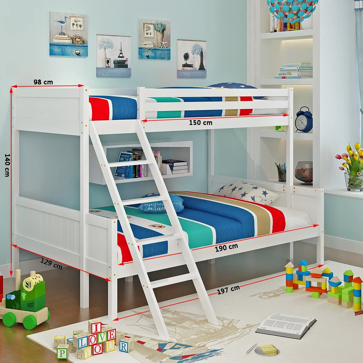 Panana Solid Wooden Triple Bunk Bed Frame 3 Sleeper Bed Frame Down Double Up Single Design White Amazon Co Uk Kitchen Home