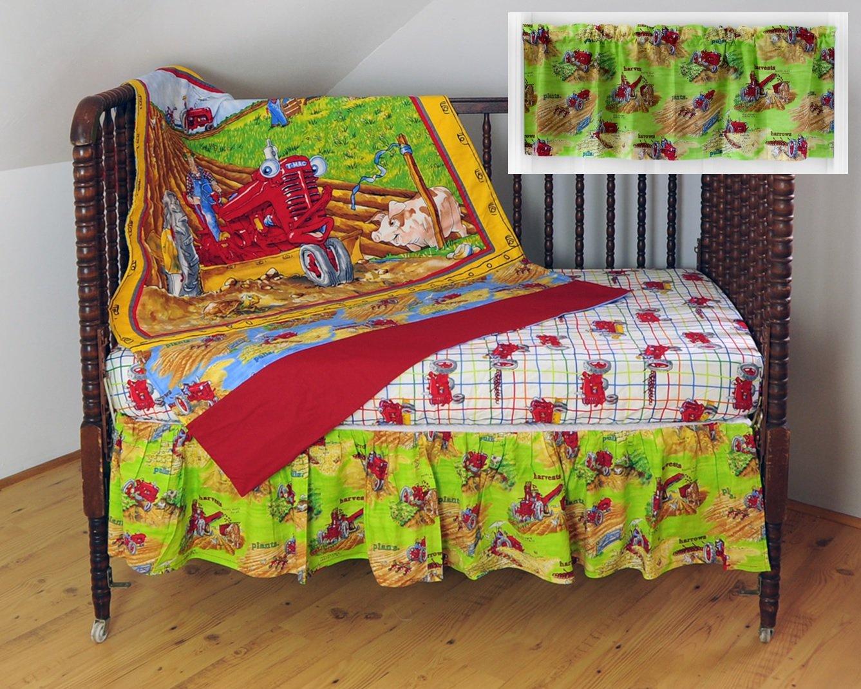 IH Tractor Mac Nursery Crib Bedding Set, white/lime