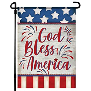 Home4Ever 4th of July Garden Flag- 12.5 X 18 inch Double-Sided Printing God Bless America Banner- Memorial Day Outdoor Decor for House Porch, Lawn, Patio, Yard - Suits Standard Stands