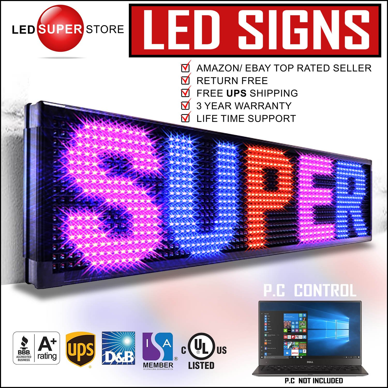 LED SUPER STORE: 3Color/RBP/P30mm/PC - 22''x60'' PC Control, Outdoor Programmable Message Scrolling EMC Signs Display, Reader Board