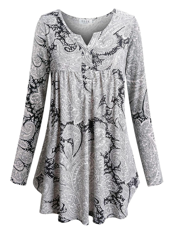DSUK Women Split Neck Long Sleeve Tunic Tops Pleated Floral Button Casual Shirt DXC1016