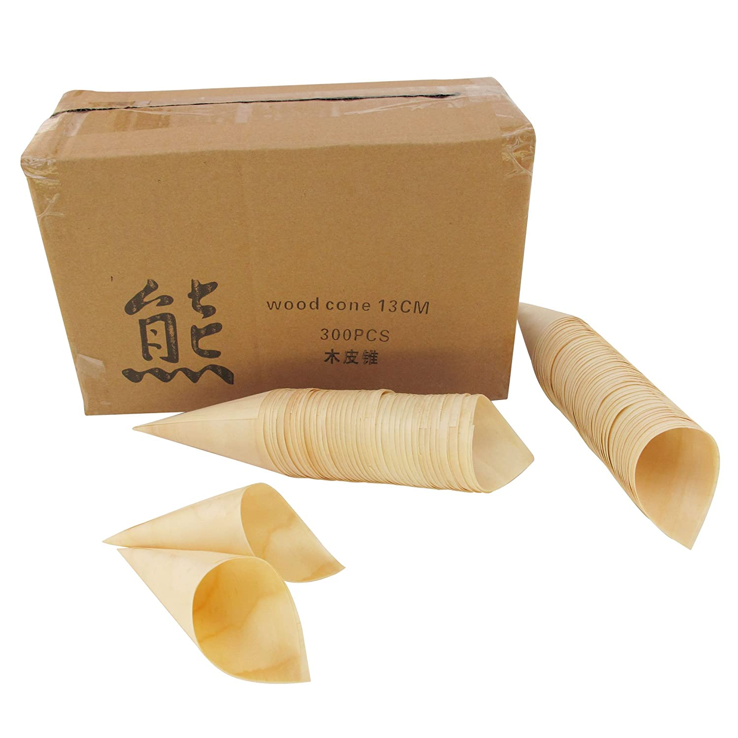 BambooMN Brand 100 Pieces 3.1 Tall x 1.5 Dia Disposable Wood Cones