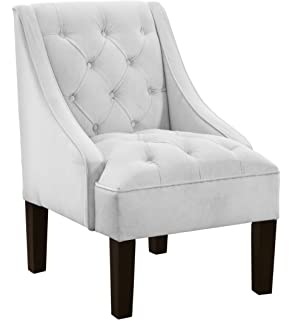 Beau Skyline Furniture Tufted Swoop Arm Chair In Velvet White
