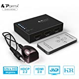 Portta 4K 5-Port HDMI Switch |Auto Switch| HDMI Switcher 5 Input 1 Output |HDMI Splitter| V2.0 with IR Remote Support Full HD 3D 4K@60Hz 4:4:4 HDCP2.2 HDR for PS3/4/4 PRO/Xbox One/Blu-ray Player/ Roku/Apple TV/Fire TV and More