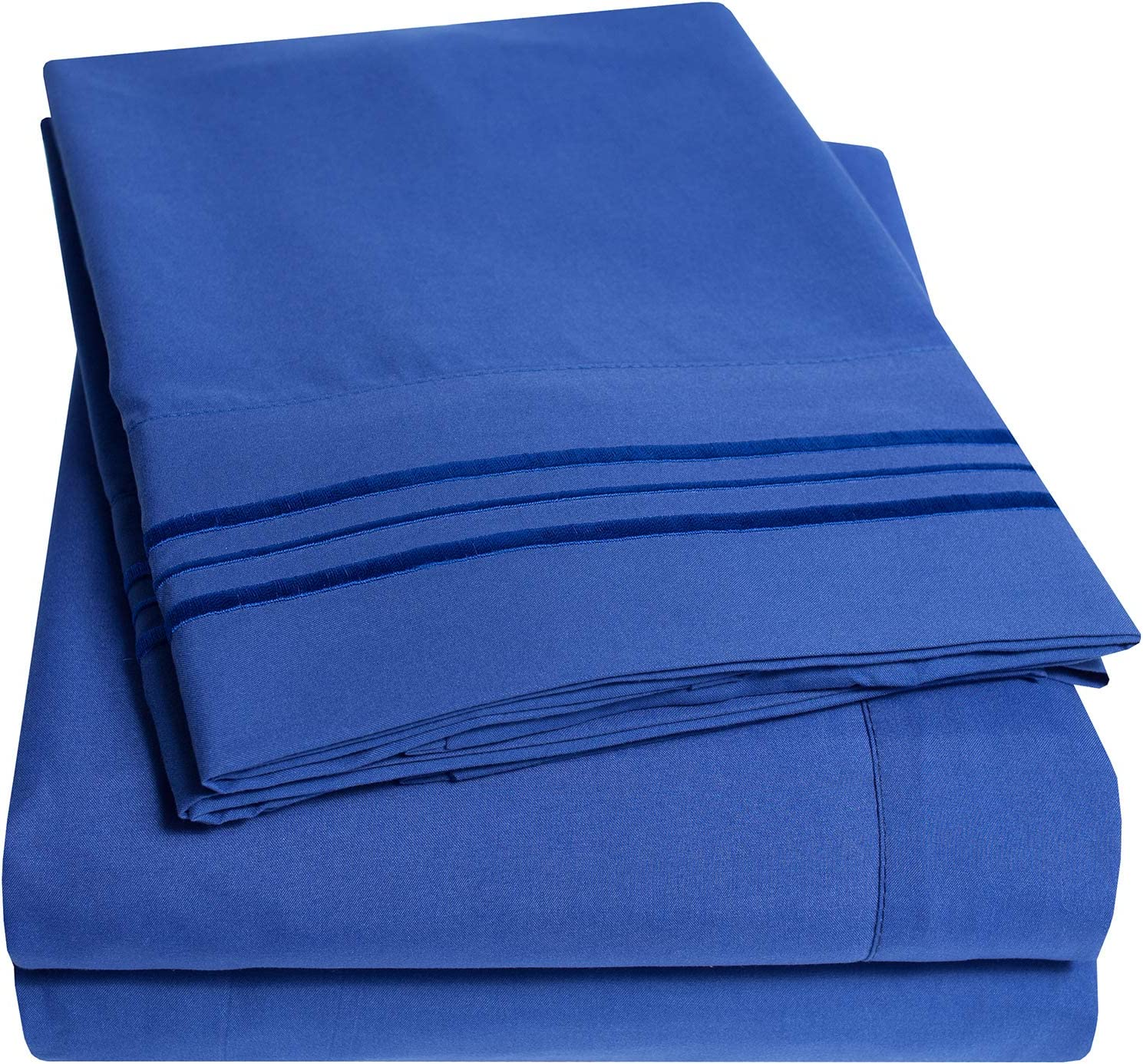 1500 Supreme Collection Bed Sheets Set - Premium Peach Skin Soft Luxury 4 Piece Bed Sheet Set, Since 2012 - Deep Pocket Wrinkle Free Hypoallergenic Bedding - Over 40+ Colors - Full, Royal Blue