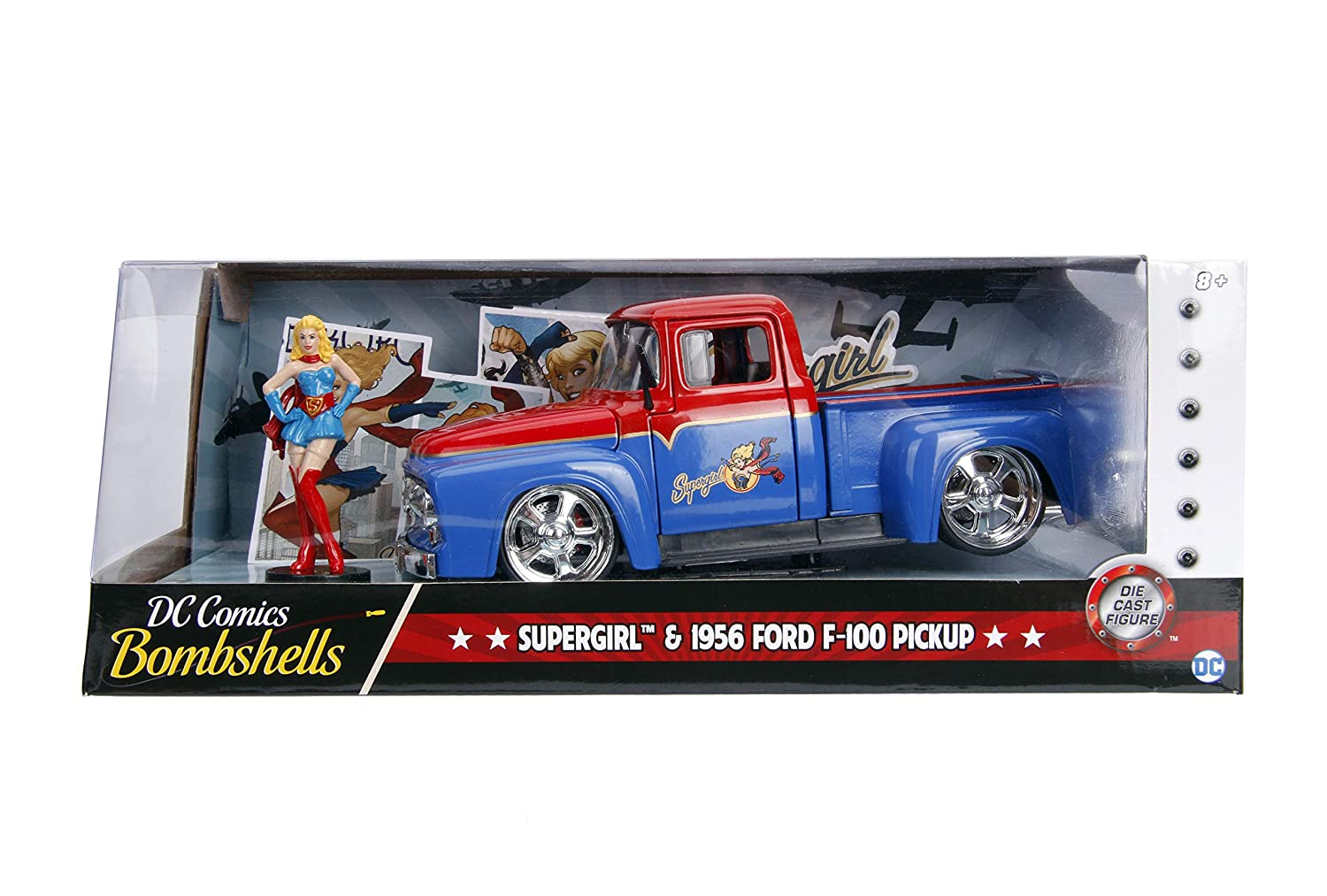 Contemporary Manufacture Cars, Trucks & Vans JADA 1:24 DC SUPERGIRL & 1956 FORD F-100 PICKUP DIE-CAST RED BLUE 30454