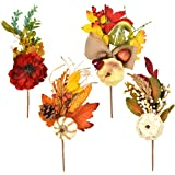 4 Count Thanksgiving Artificial Floral Picks Fall Decor Autumn Maple Leaves Berries Corn Pumpkin Gourds Pine Cones Harvest Stems for Table Centerpiece Door Wreath & Swag DIY Crafts Party Accessories