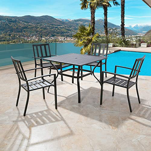 Iwicker Patio Steel Dining Arm Chairs, Set of 4