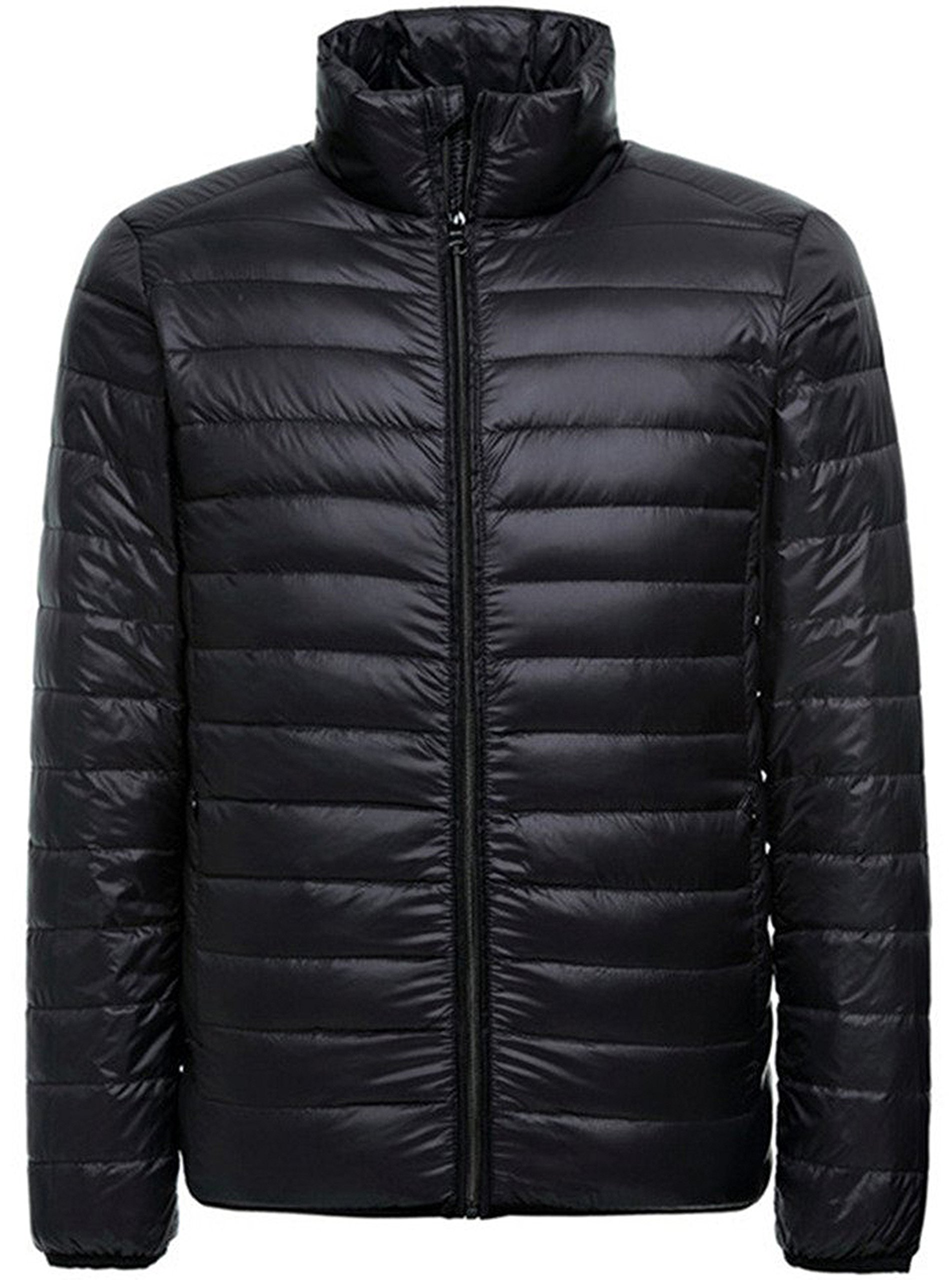 Men's Packable Hooded Down-Fill Quilted Jacket Light Waterproof Coats Black Without Hooded US Medium/Tag XX-Large