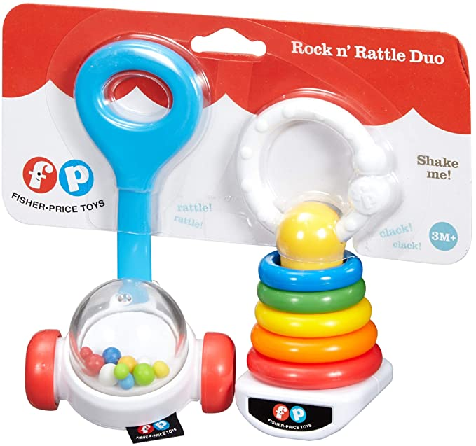 Fisher-Price Corn Popper Rattle /& Rock-A-Stack Baby teether Set NEW