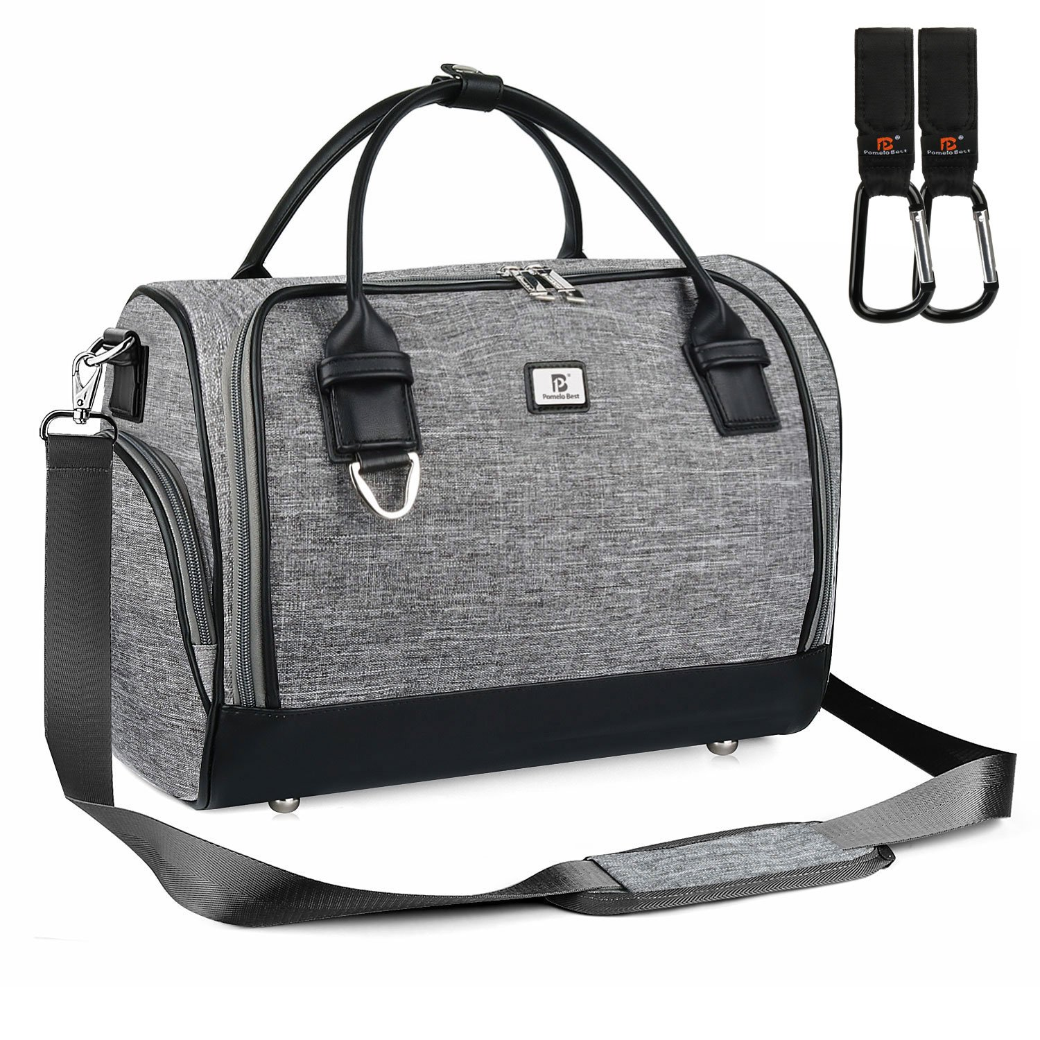 Diaper Changing Messenger Bag, Nappy Changing Bag with Stroller Hook and Changing Pad (Linen Color) Pomelo Best 1800184