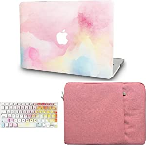 """KECC Laptop Case for MacBook Air 13"""" Retina (2020/2019/2018, Touch ID) w/Keyboard Cover + Sleeve Plastic Hard Shell Case A1932 3 in 1 Bundle (Rainbow Mist)"""