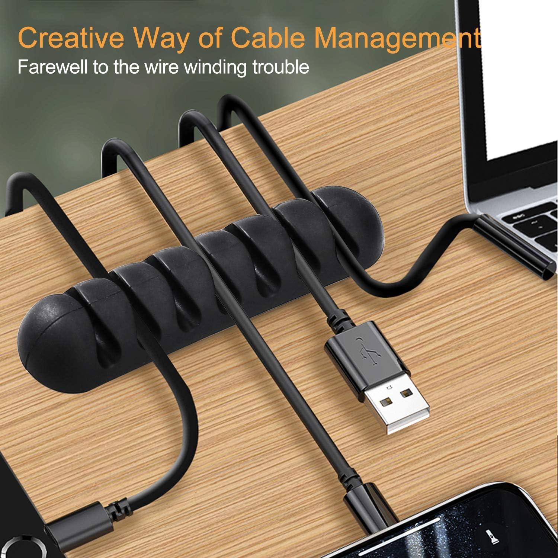 USB Carga Cable 4 Pcs Negro Clips para Cables de Silicona 7 Canales Organizador de Cable Autoadhesivo para El/éctrico Cable Gesti/ón de Alambre para la Hogar Oficina