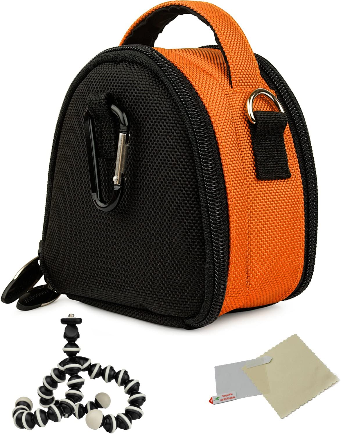 Mini Travel Shoulder Bag Carrying Case NEX C3 Digital Camera and Screen Protector and Mini Tripod for Sony Alpha NEX 5 Orange