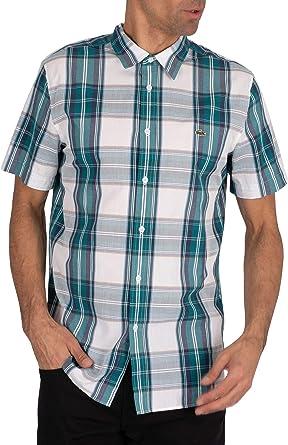 Lacoste de los Hombres Camisa de Manga Corta a Cuadros con Logo, Verde: Amazon.es: Ropa y accesorios