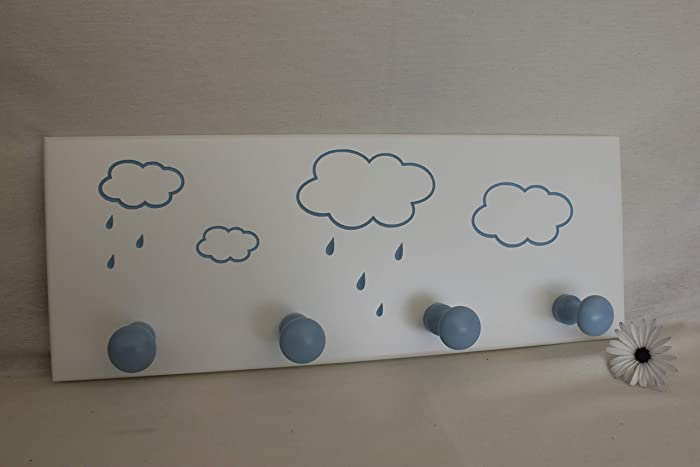 Perchero de pared Infantil Lacado en Blanco con diseño NUBES ...