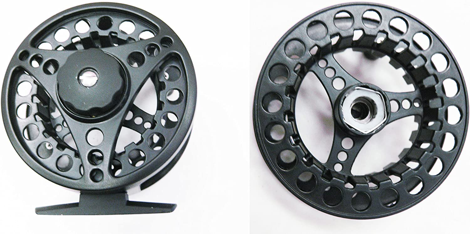 KUFA 5 6 Aluminum Fly Reel with One Extra Spool Large Arbor FR56S Sports Stainless Steel Hand Gaff, 36 , Black