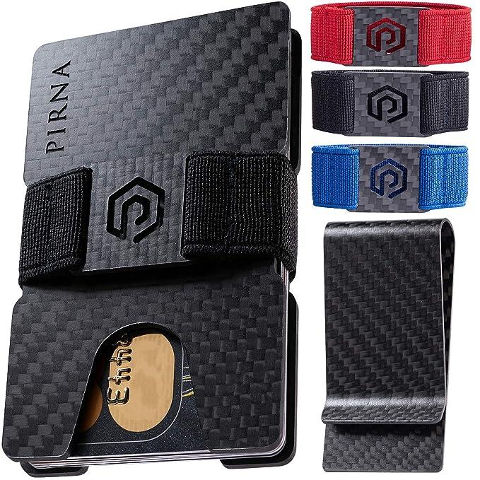 a6178e9674ae PIRNA Minimalist Wallet for Men & Carbon Fiber Money Clip - Slim Credit  Card Holder - Front Pocket RFID Blocking Wallets