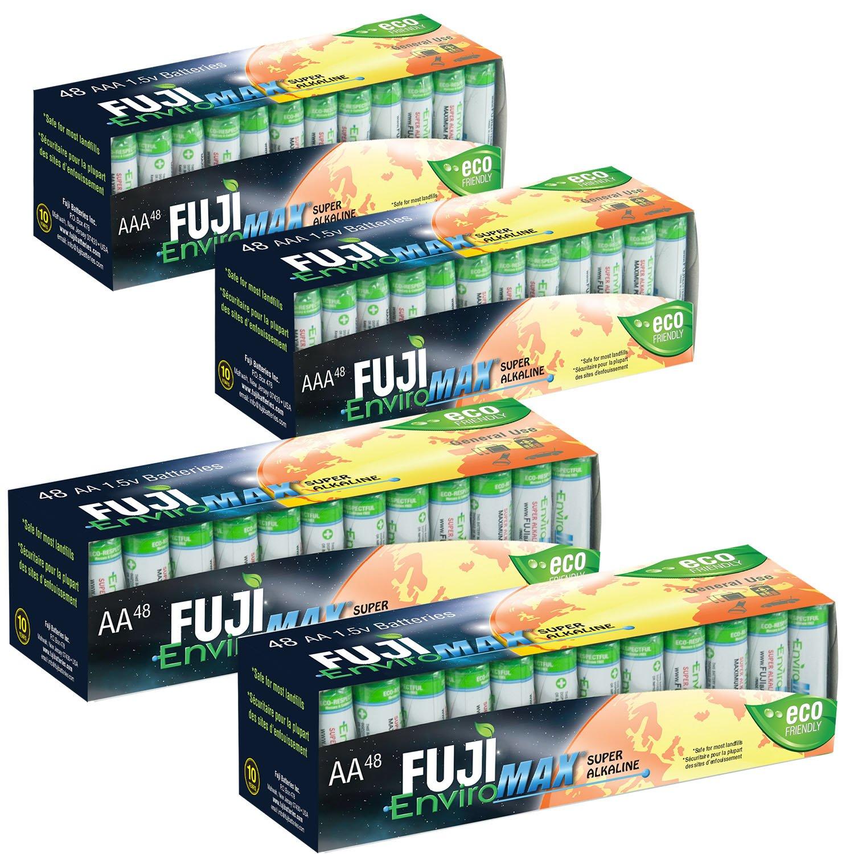 Fuji EnviroMAX Super Alkaline AA + AAA Set - Eco Friendly Batteries (Pack of 192 (96AA + 96AAA)) by Fuji EnviroMAX
