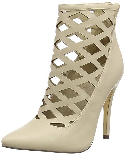 f5faa97031 Boohoo Women's Lattice Heeled Shoe Closed Toe Sandals, Beige (Nude Pu), 3