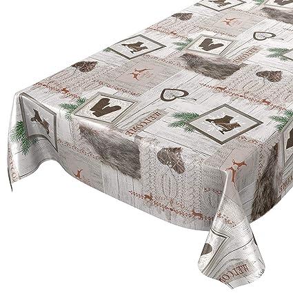 ANRO Hule Mantel Hule Lavable Mantel navideño (100 x 140 cm, Borde de Corte