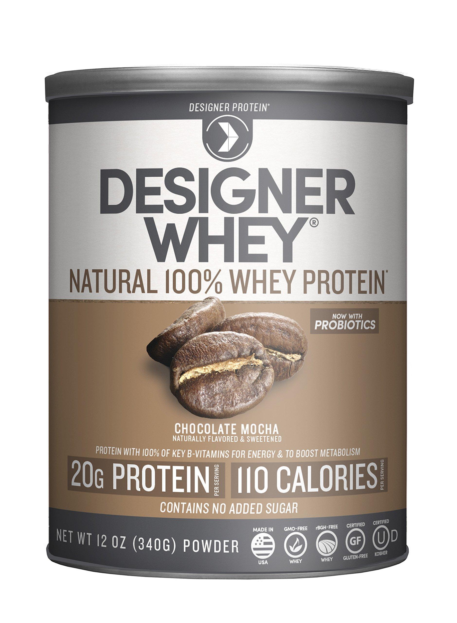 Designer Protein Whey Premium Natural 100% Whey Protein, Chocolate Mocha, 12 Ounce
