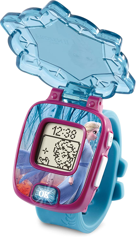 VTech - Frozen II, Reloj mágico educativo Elsa, reloj multifunción con diferentes juegos, tapa protectora y pantalla con animaciones de los personajes Elsa, Anna y Olaf, color azul (80-518877)