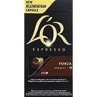 L'OR Café Espresso Forza. 4 packs de 10 cápsulas cada uno. Total: 40 cápsulas.