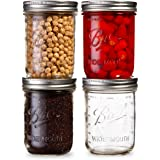 Ball Wide Mouth Mason Jars 16 oz Bundle with Non Slip Jar Opener- Set of 4 Half Quart Mason Jars - Canning Glass Jars…