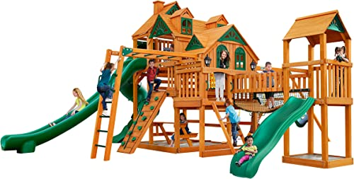 Gorilla Playsets 01-0090-AP Empire Extreme Wood Swing Set with Clatter Bridge, Monkey Bars, and 3 Slides, Amber