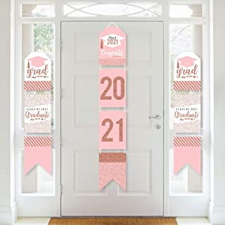 product image for Big Dot of Happiness Rose Gold Grad - Hanging Vertical Paper Door Banners - 2021 Graduation Party Wall Decoration Kit - Indoor Door Decor
