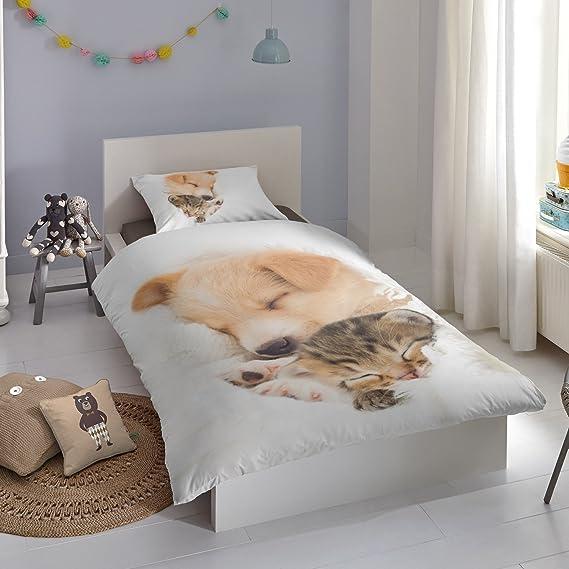 good morning Juego de cama (2 piezas, funda nórdica de 135 x 200 cm 80 x 80 cm funda de almohada Good Morning perro & gato 5577.00.08 Color Blanco: ...